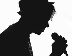 Singer in silouette