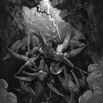 Satan cast into hell by Gustave Doré