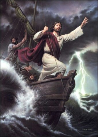 The Lord Jesus calms the troubled Sea