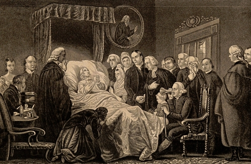 V0006951 The death-bed of John Wesley, 1791. Process print after an a