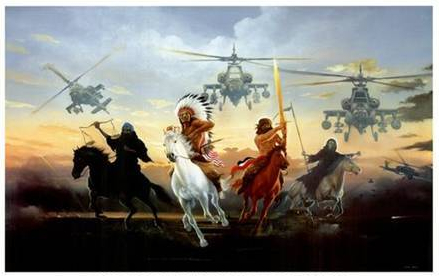 Four horsemen and helocopters