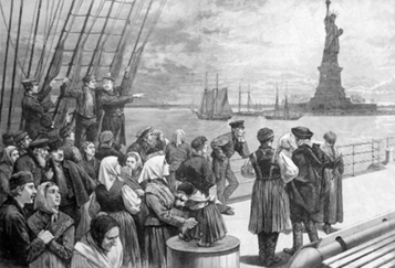 group of immigrants: etching 1890s