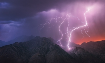 Lightning on a mountain
