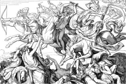 Antique illustration of Four Horsemen o the Apocalypse