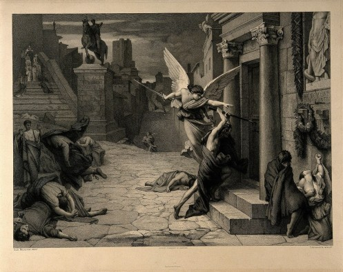 1358px-The_angel_of_death_striking_a_door_during_the_plague_of_Rome_Wellcome_V0010664